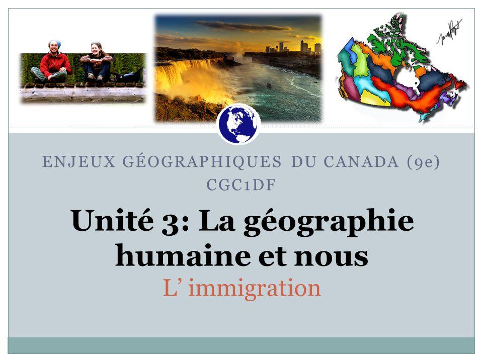 Unité 3: La géographie humaine et nous L' immigration