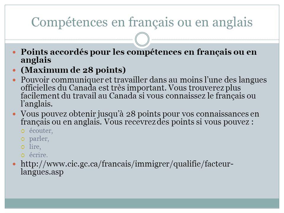 Compétences en français ou en anglais