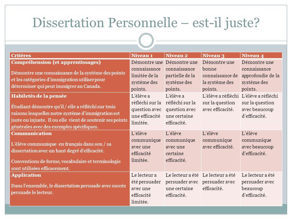 Dissertation Personnelle – est-il juste