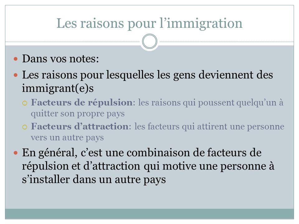 Les raisons pour l'immigration