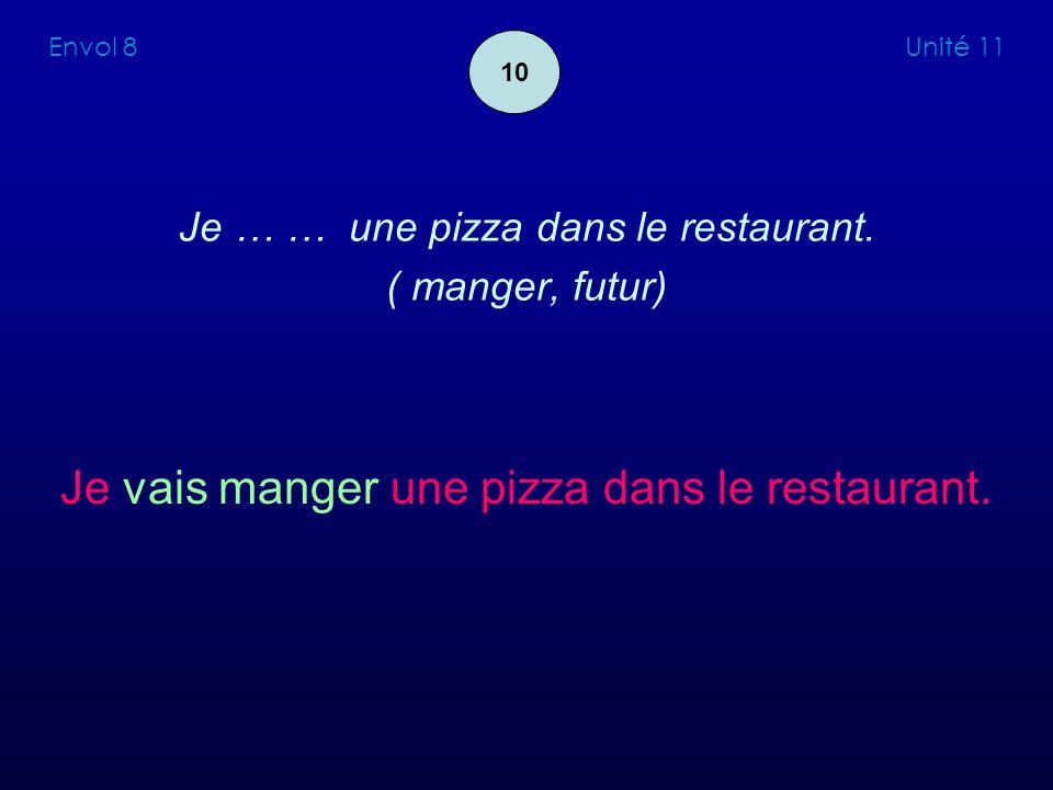 Je … … une pizza dans le restaurant. ( manger, futur)