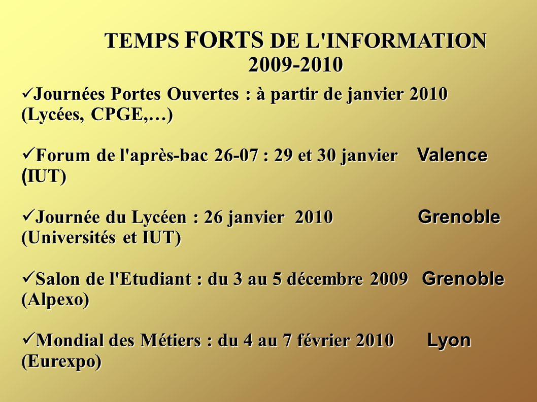 TEMPS FORTS DE L INFORMATION 2009-2010