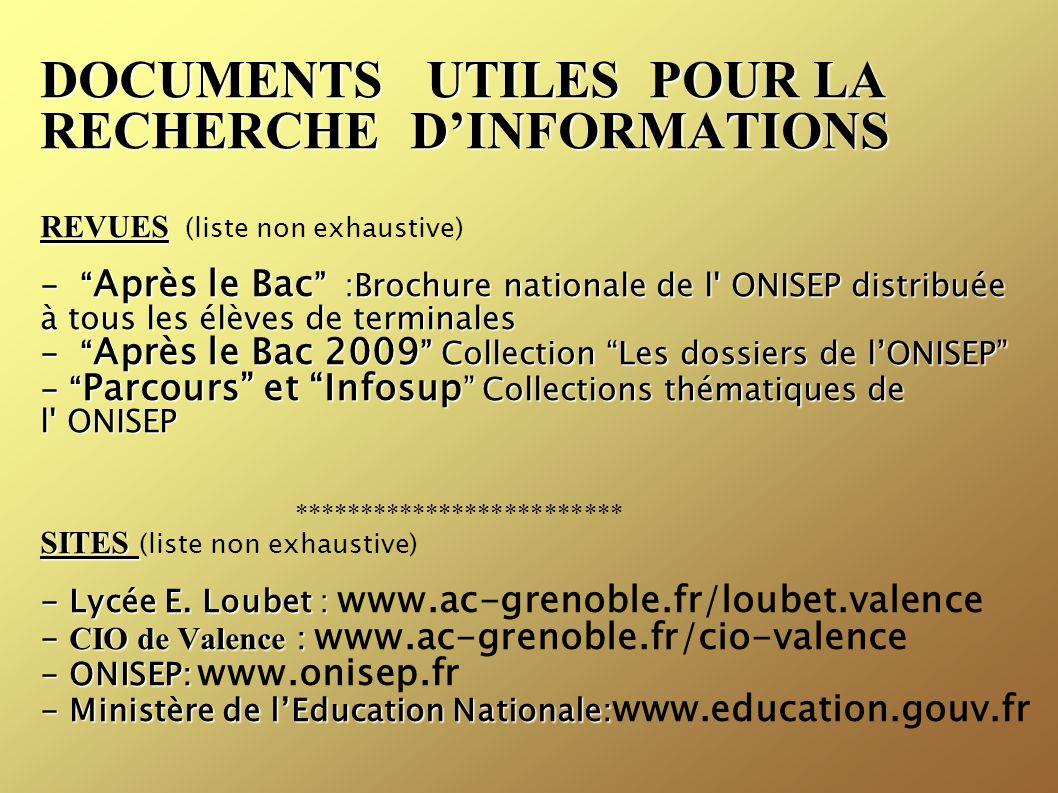DOCUMENTS UTILES POUR LA RECHERCHE D'INFORMATIONS REVUES (liste non exhaustive) - Après le Bac :Brochure nationale de l ONISEP distribuée à tous les élèves de terminales - Après le Bac 2009 Collection Les dossiers de l'ONISEP - Parcours et Infosup Collections thématiques de l ONISEP ************************* SITES (liste non exhaustive) - Lycée E.