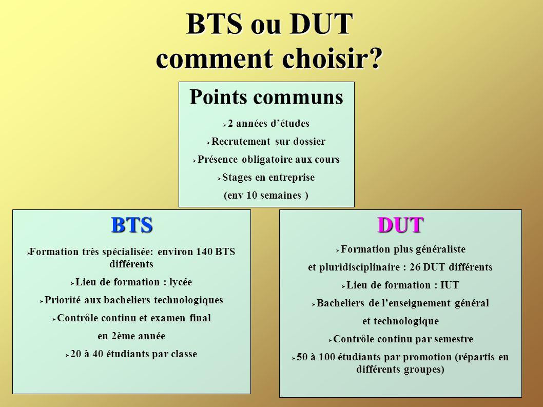 BTS ou DUT comment choisir