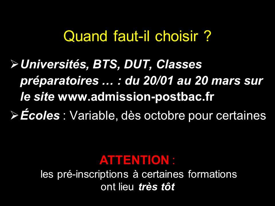 Quand faut-il choisir Universités, BTS, DUT, Classes préparatoires … : du 20/01 au 20 mars sur le site www.admission-postbac.fr.