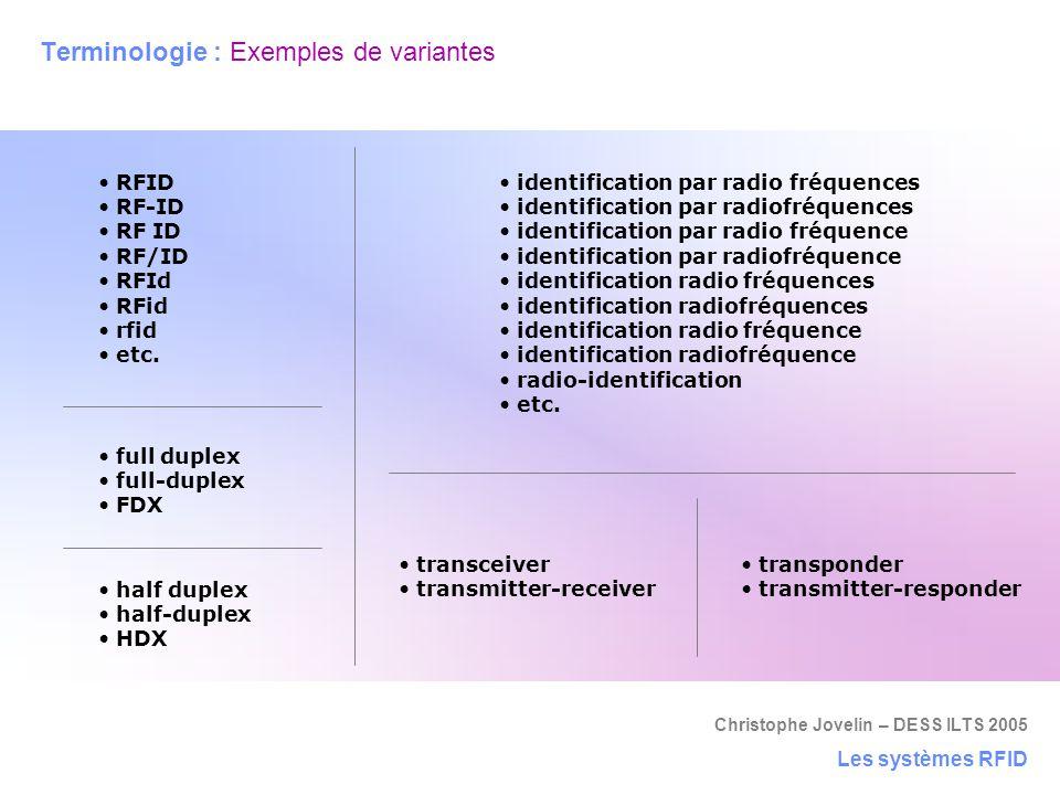 Terminologie : Exemples de variantes