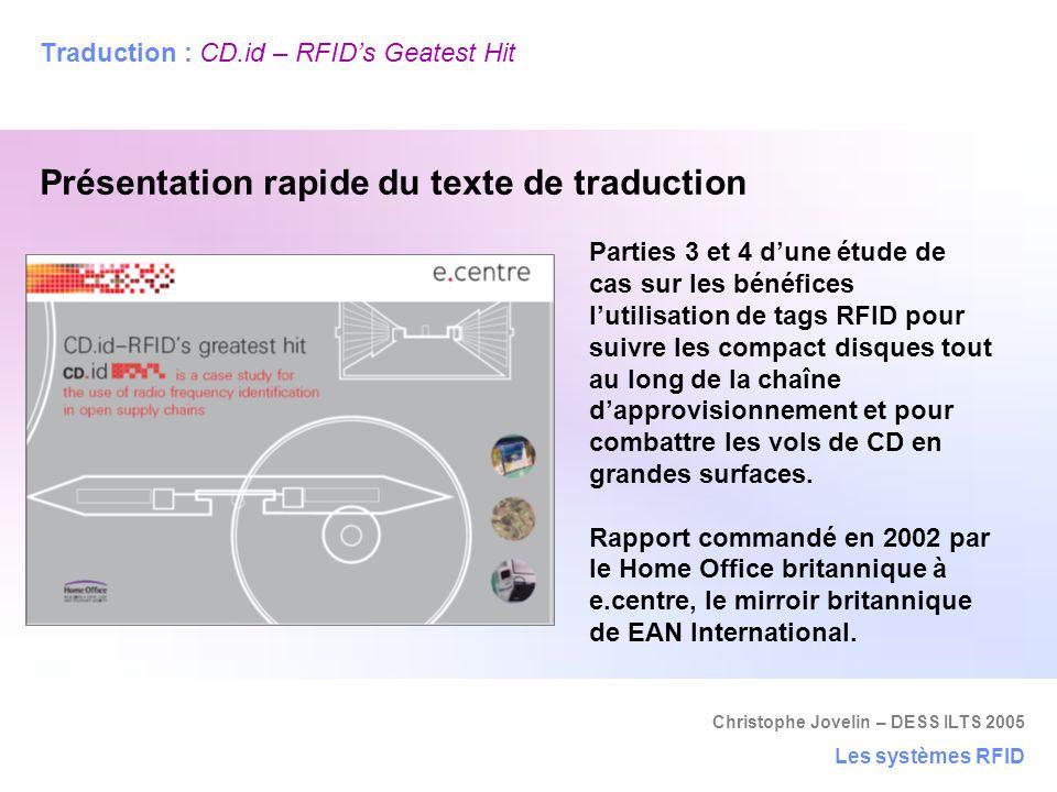 Traduction : CD.id – RFID's Geatest Hit