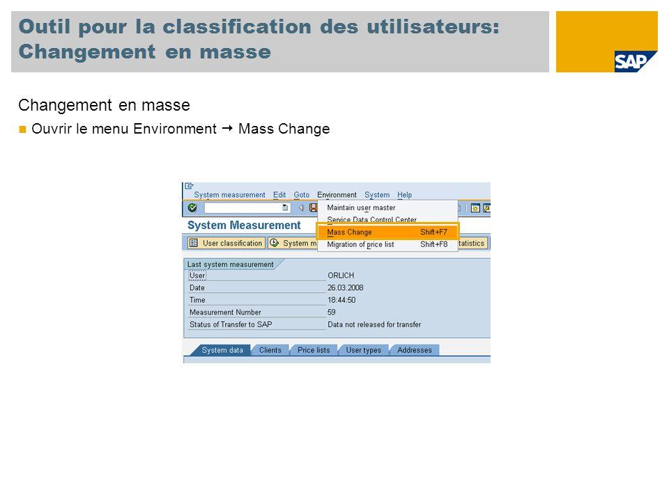 Outil pour la classification des utilisateurs: Changement en masse