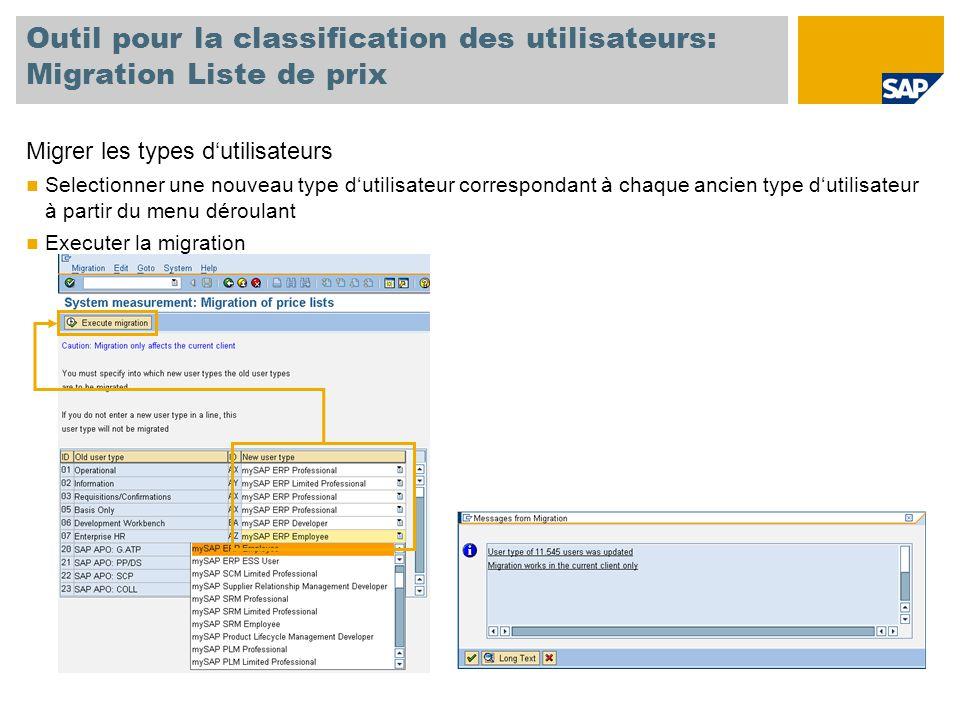 Outil pour la classification des utilisateurs: Migration Liste de prix