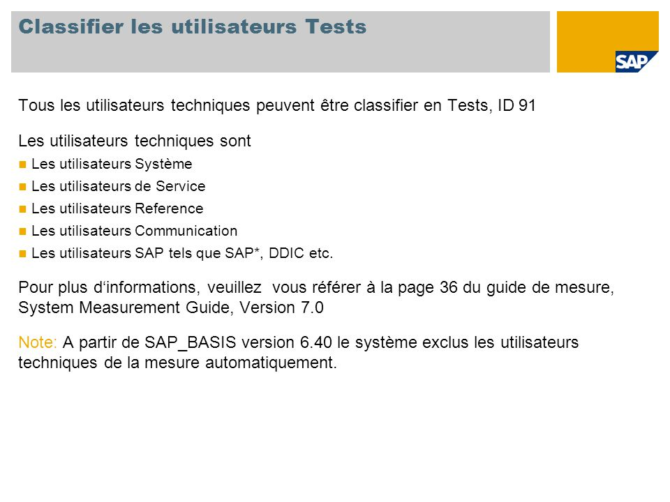 Classifier les utilisateurs Tests
