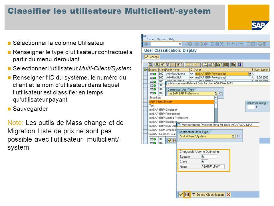 Classifier les utilisateurs Multiclient/-system