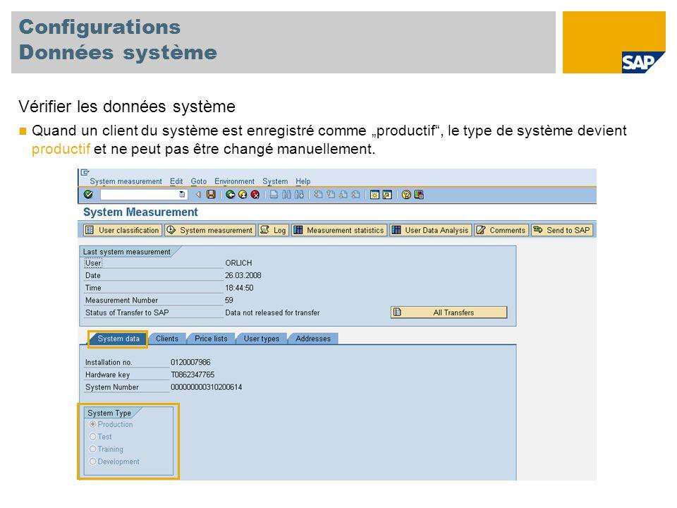 Configurations Données système