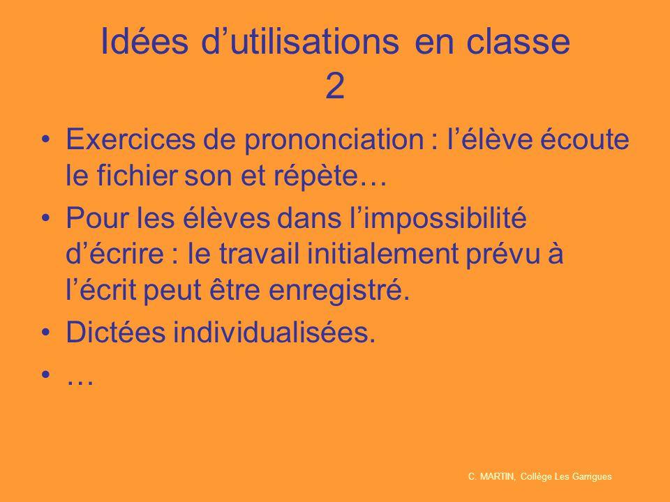 Idées d'utilisations en classe 2