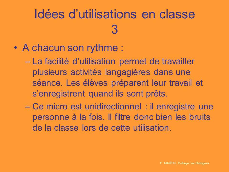 Idées d'utilisations en classe 3