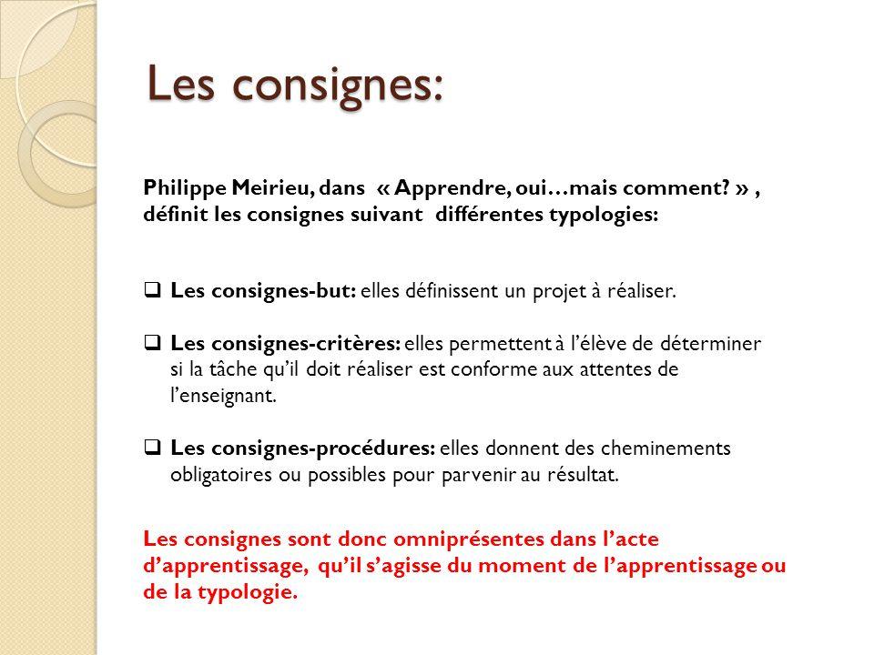 Les consignes: Philippe Meirieu, dans « Apprendre, oui…mais comment » , définit les consignes suivant différentes typologies: