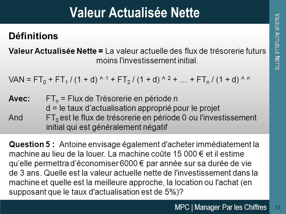 Valeur Actualisée Nette