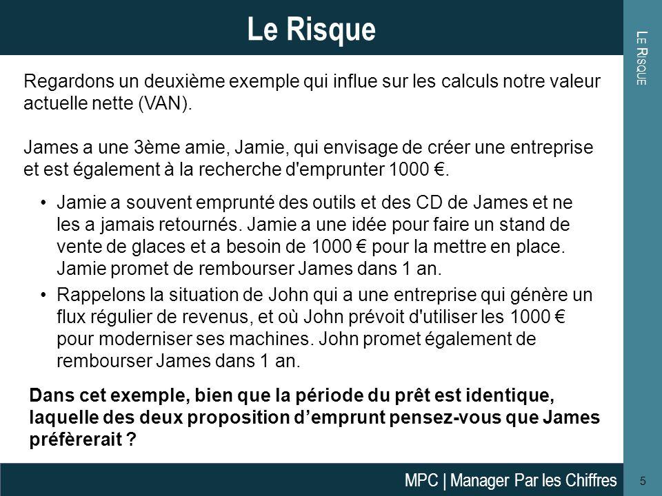 Le Risque Le Risque. Regardons un deuxième exemple qui influe sur les calculs notre valeur actuelle nette (VAN).