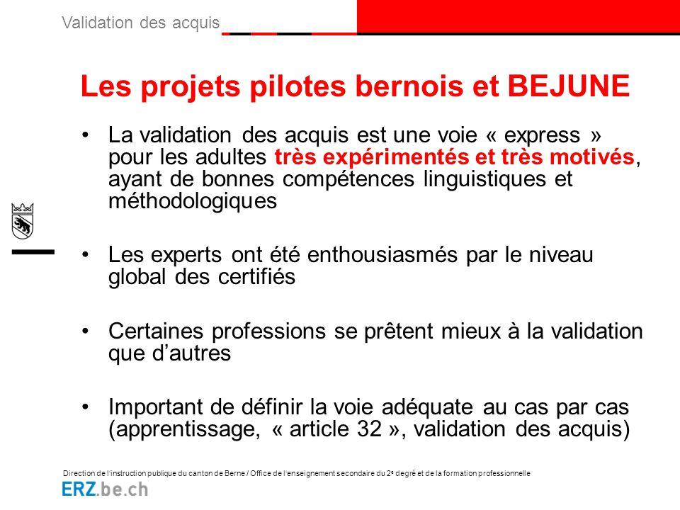 Les projets pilotes bernois et BEJUNE