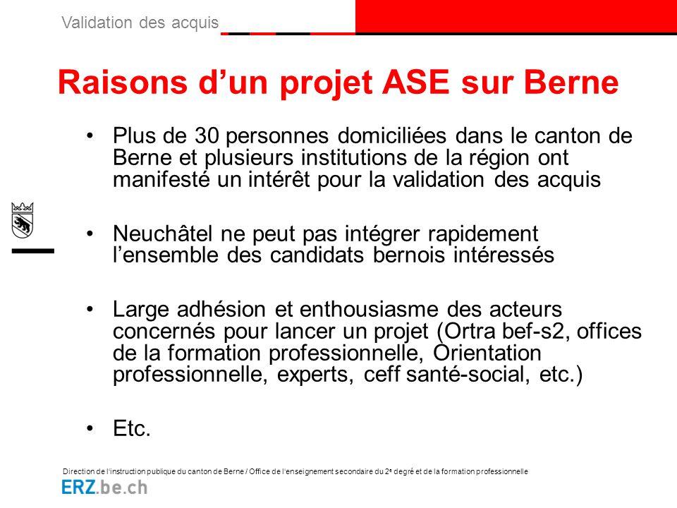 Raisons d'un projet ASE sur Berne