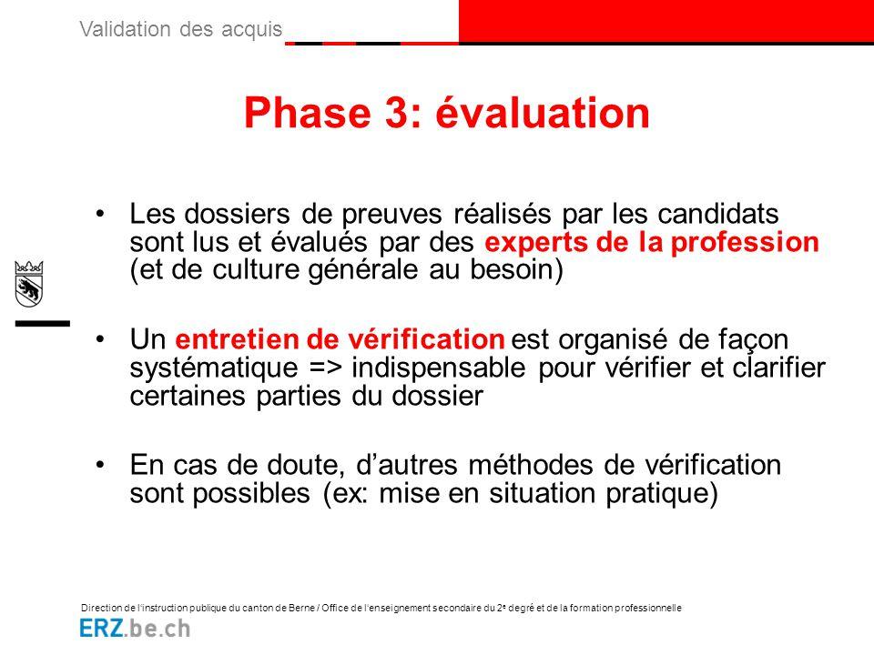 Phase 3: évaluation