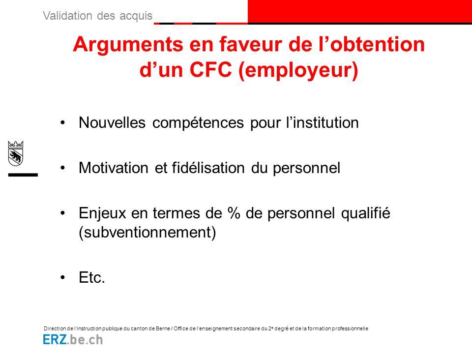 Arguments en faveur de l'obtention d'un CFC (employeur)