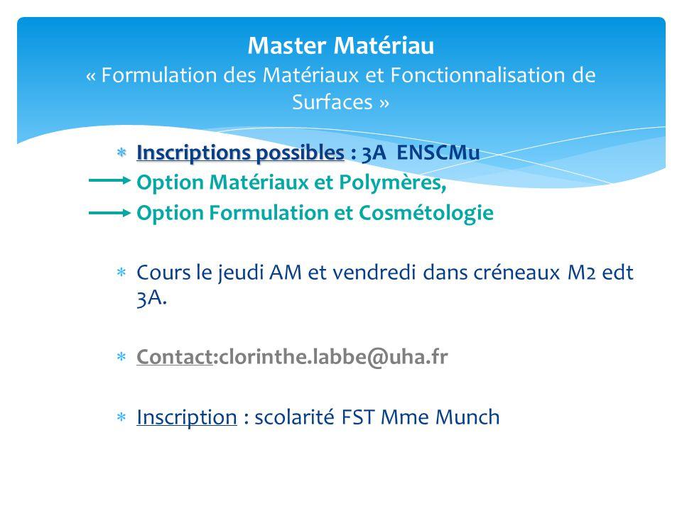 Master Matériau « Formulation des Matériaux et Fonctionnalisation de Surfaces »
