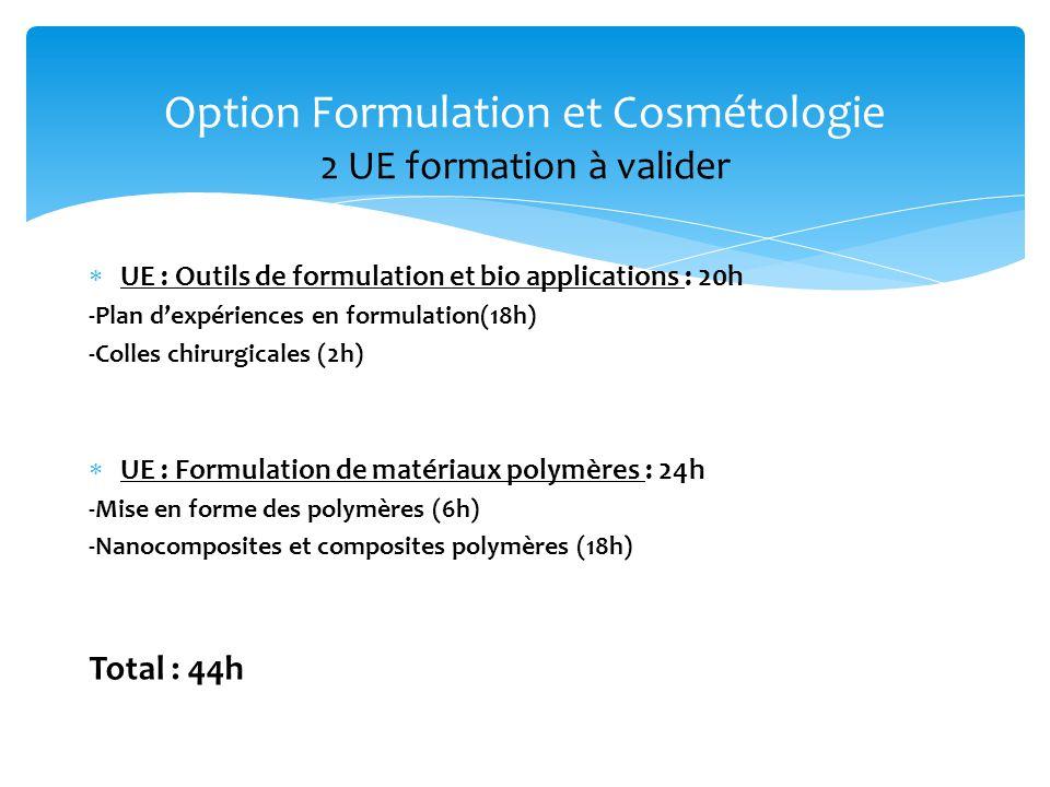 Option Formulation et Cosmétologie 2 UE formation à valider
