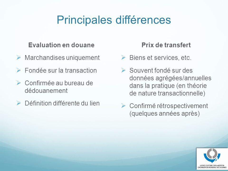 Principales différences