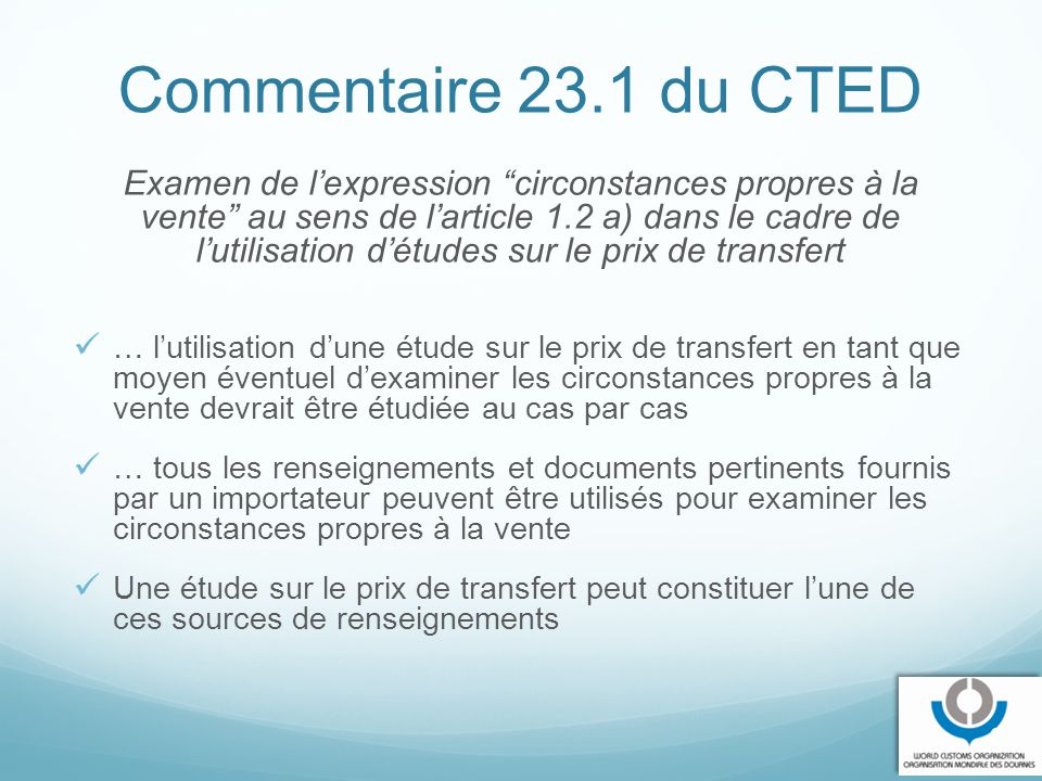 Commentaire 23.1 du CTED