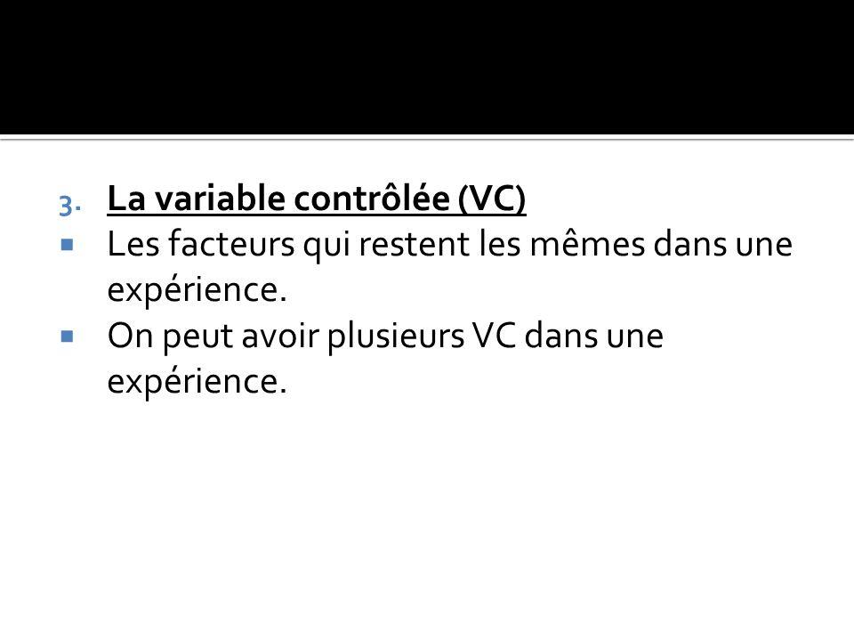 La variable contrôlée (VC)