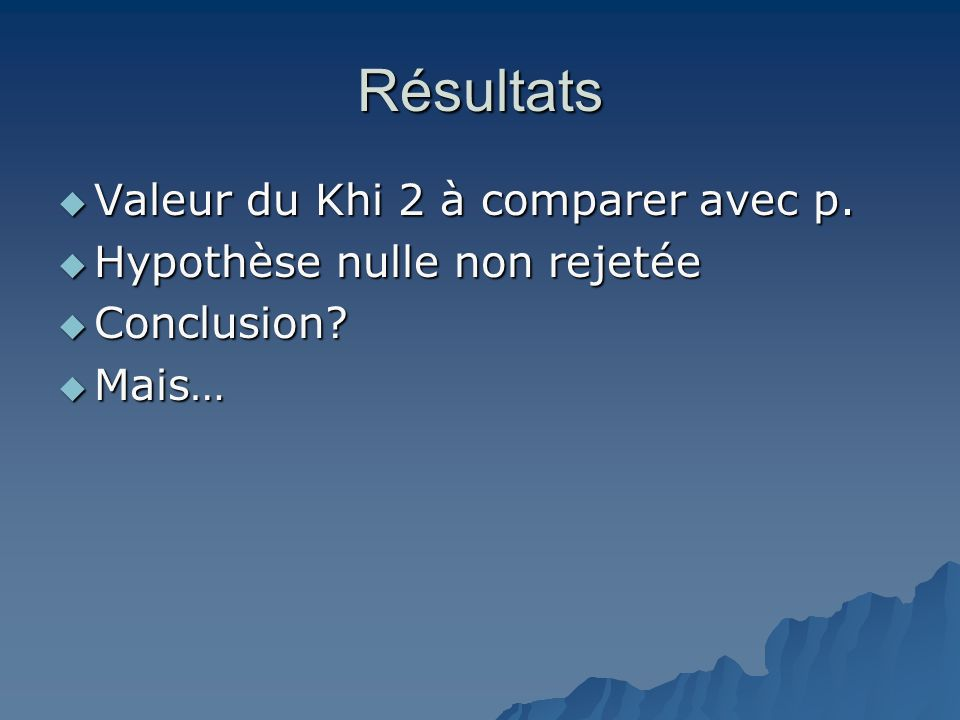 Résultats Valeur du Khi 2 à comparer avec p.