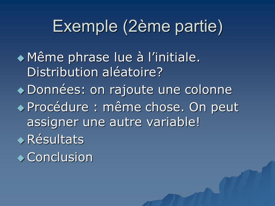 Exemple (2ème partie) Même phrase lue à l'initiale. Distribution aléatoire Données: on rajoute une colonne.