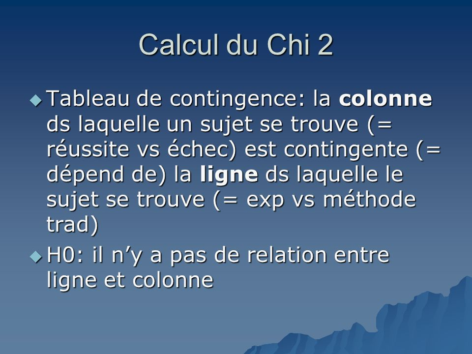 Calcul du Chi 2