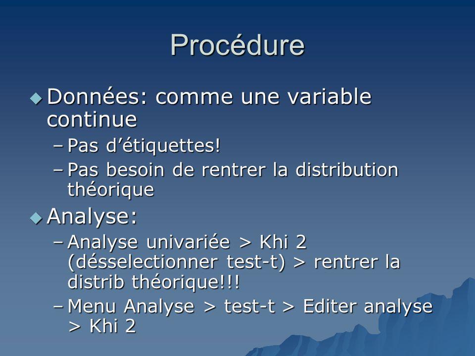 Procédure Données: comme une variable continue Analyse: