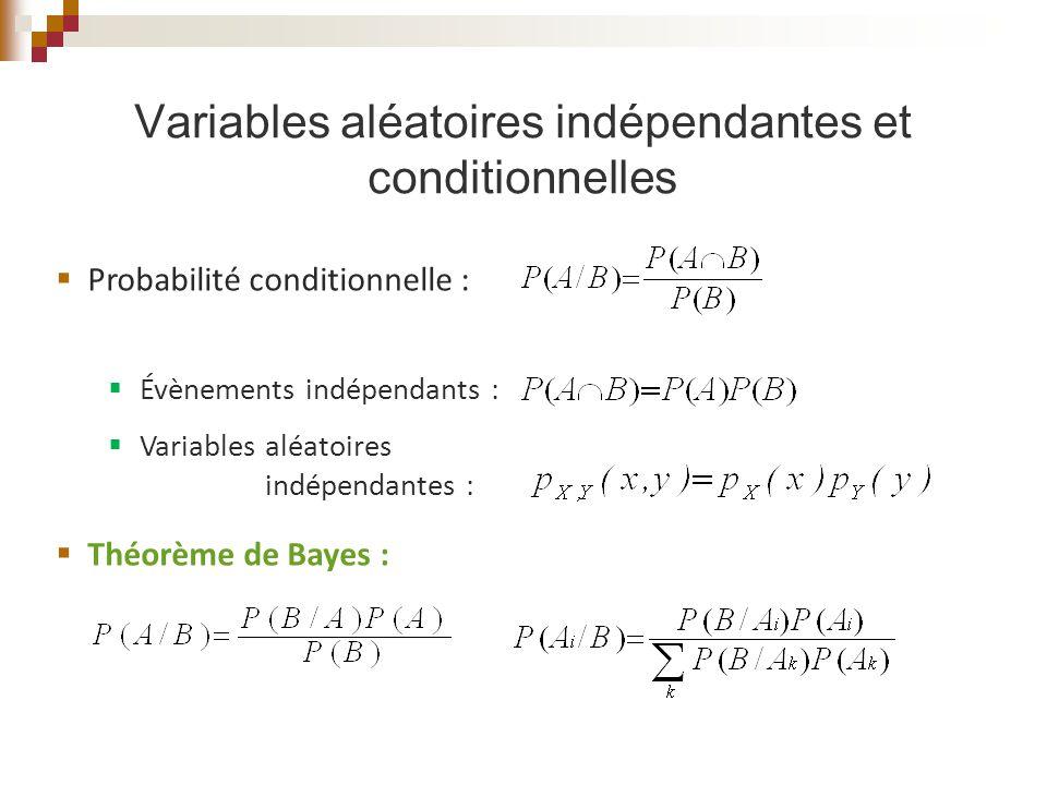 Variables aléatoires indépendantes et conditionnelles