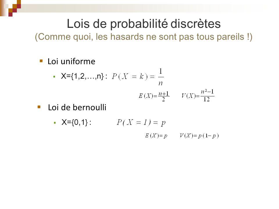 Lois de probabilité discrètes (Comme quoi, les hasards ne sont pas tous pareils !)
