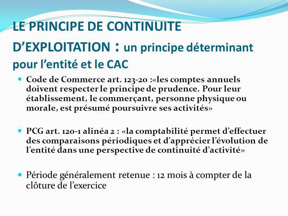 LE PRINCIPE DE CONTINUITE D'EXPLOITATION : un principe déterminant pour l'entité et le CAC