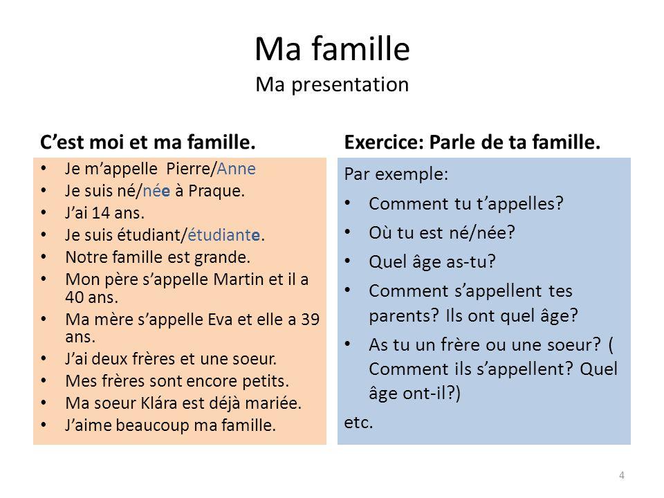 Ma famille. Moje rodina Ma presentation. Představení se. Řešení: