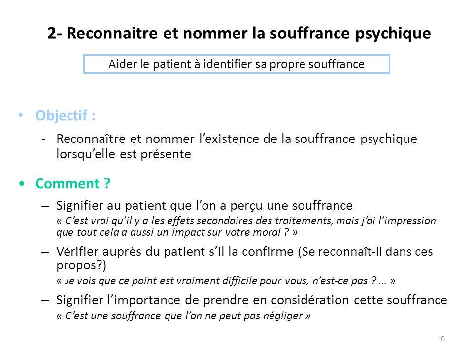2- Reconnaitre et nommer la souffrance psychique