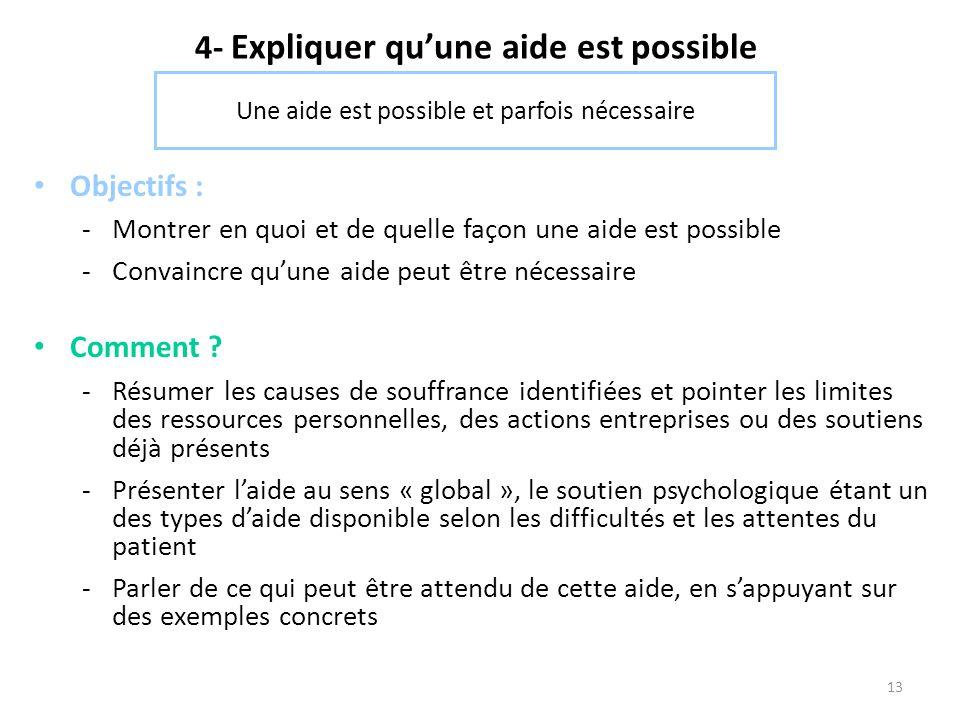 4- Expliquer qu'une aide est possible