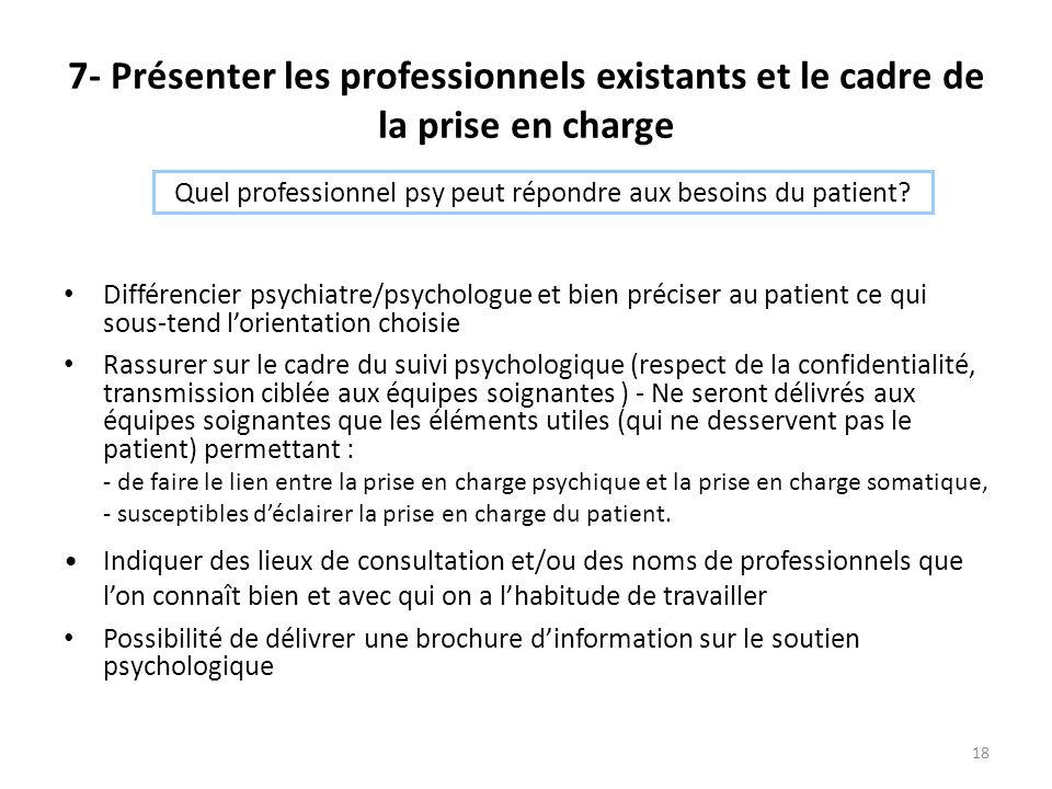 Quel professionnel psy peut répondre aux besoins du patient