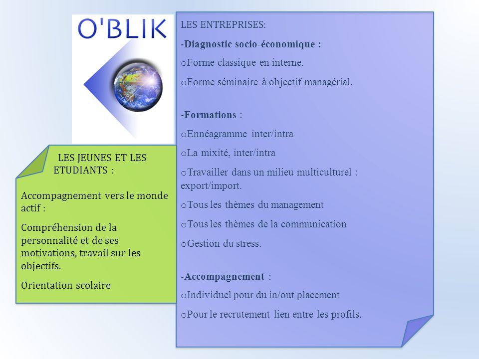 LES ENTREPRISES: -Diagnostic socio-économique : oForme classique en interne. oForme séminaire à objectif managérial.