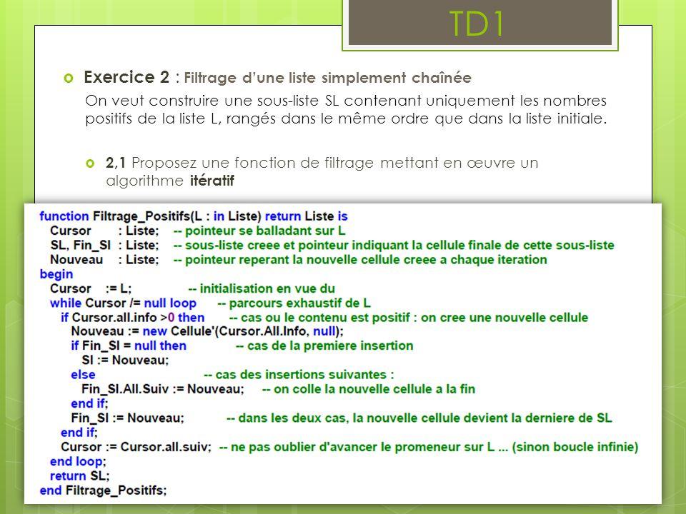 TD1 Exercice 2 : Filtrage d'une liste simplement chaînée