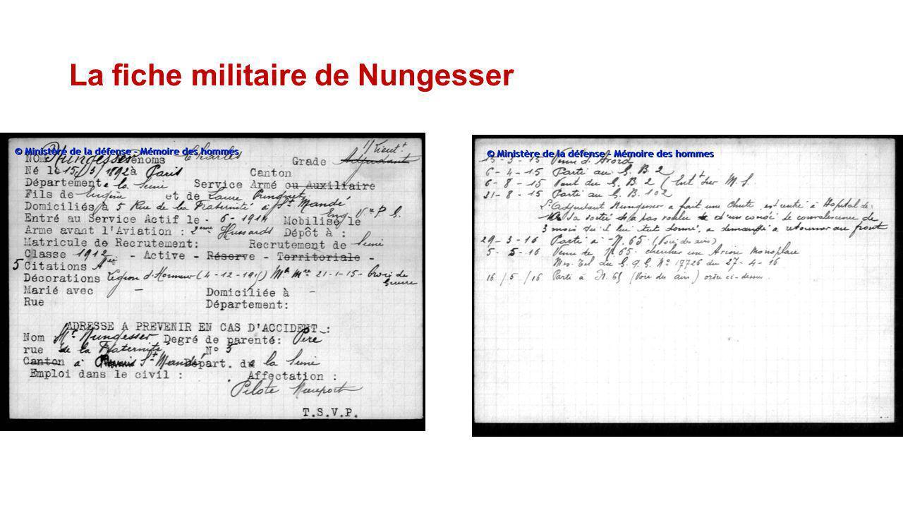 La fiche militaire de Nungesser