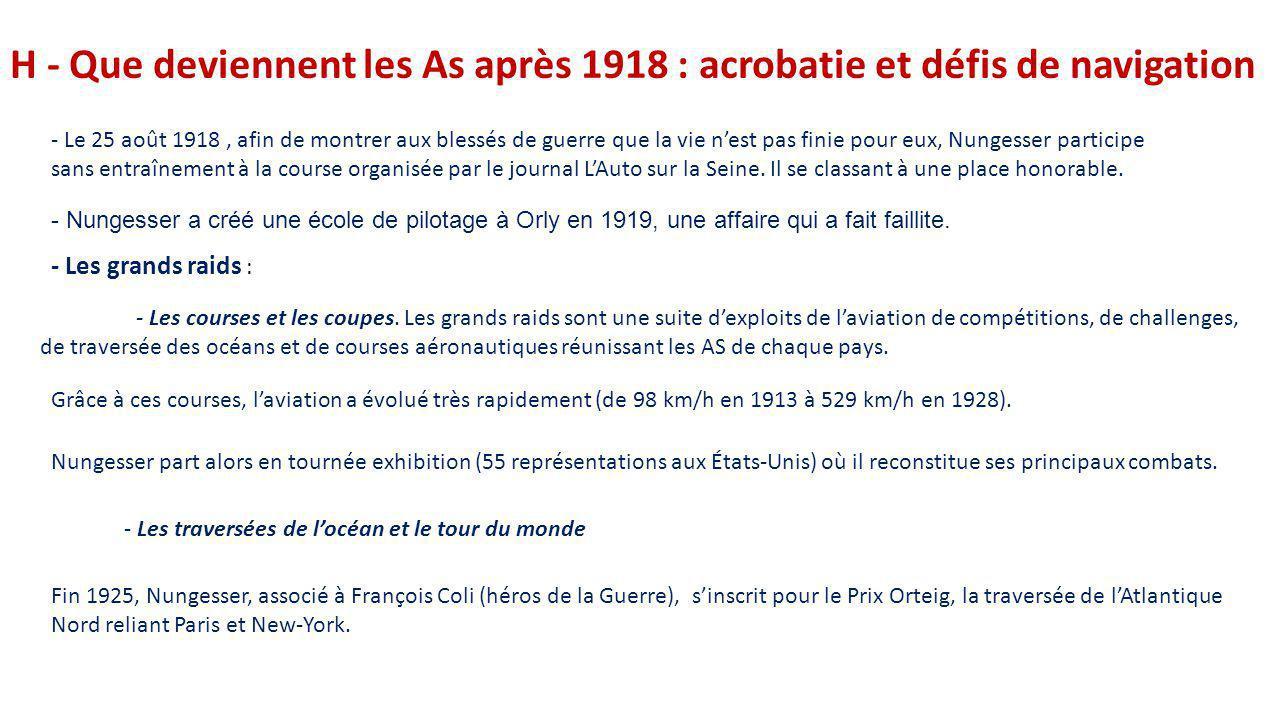 H - Que deviennent les As après 1918 : acrobatie et défis de navigation