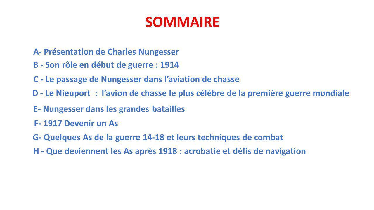 SOMMAIRE A- Présentation de Charles Nungesser