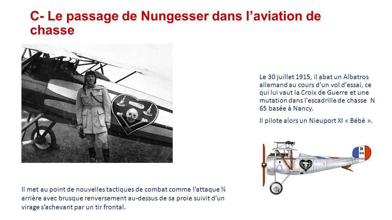 C- Le passage de Nungesser dans l'aviation de chasse