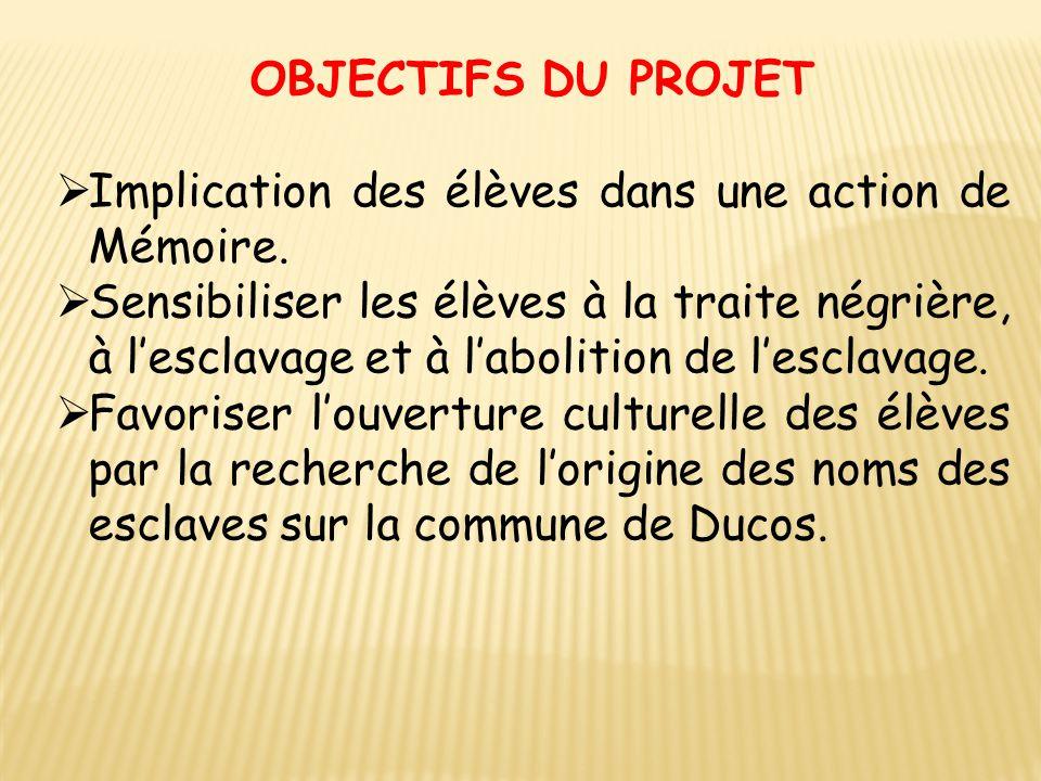 OBJECTIFS DU PROJET Implication des élèves dans une action de Mémoire.