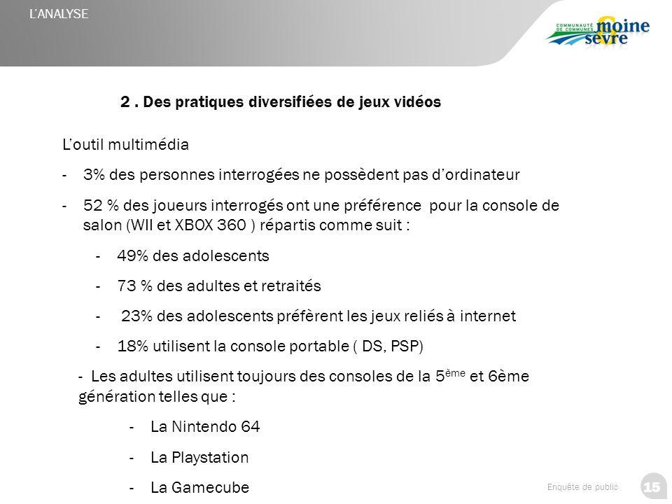 2 . Des pratiques diversifiées de jeux vidéos