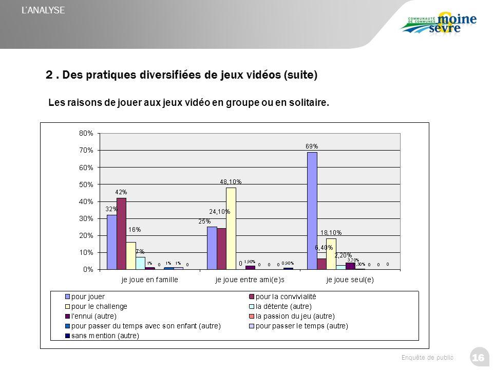 2 . Des pratiques diversifiées de jeux vidéos (suite)